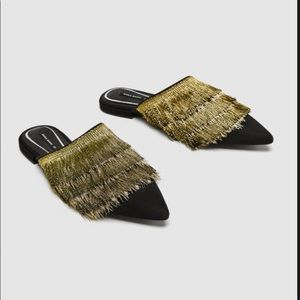 NEW Zara Flat Mules with Green Fringe
